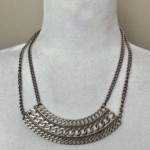 Silver tone chain bib necklace